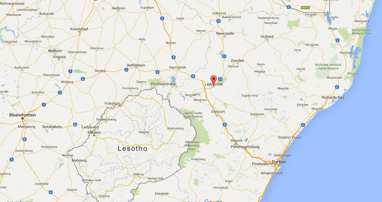 De locatie van Ladysmith in Zuid-Afrika
