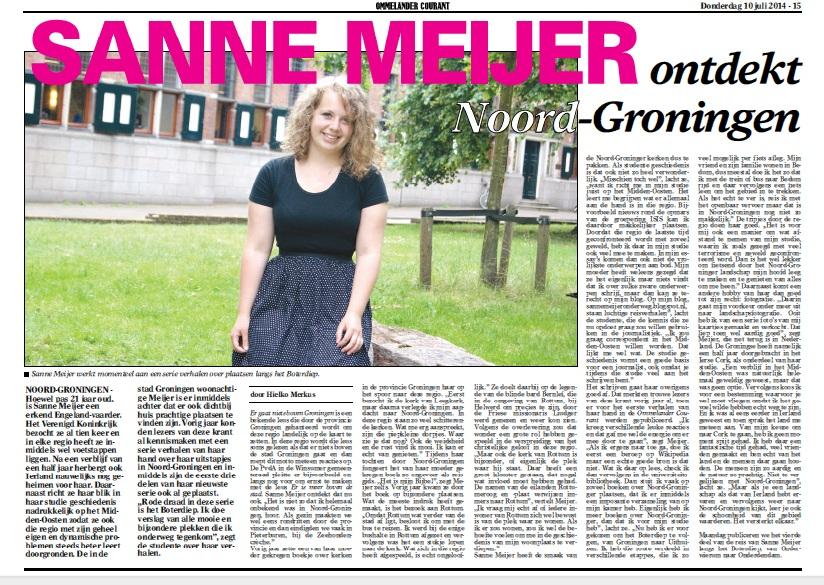 Sanne Meijer ontdekt Noord-Groningen, Ommelander Courant, 10-07-2014